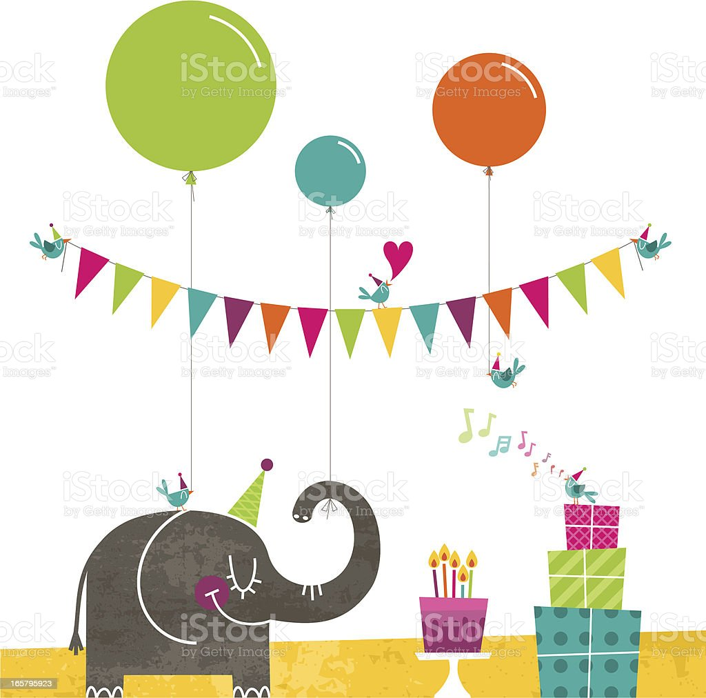 Happy birthday elephant birds party retro cake bunting vector art illustration