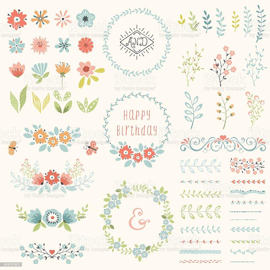 Happy Birthday Floral Set vector art illustration