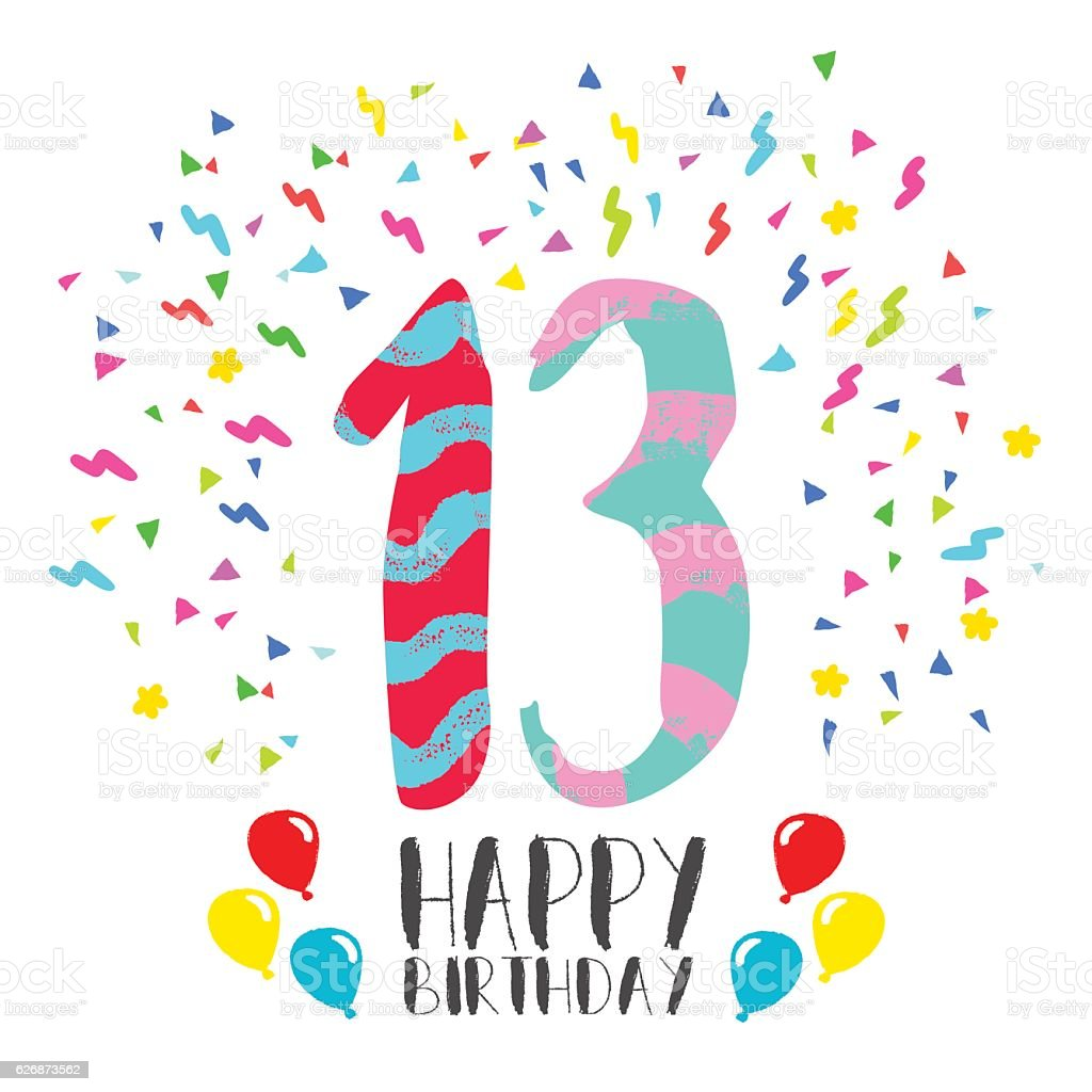 Happy Birthday for 13 year party invitation card vector art illustration
