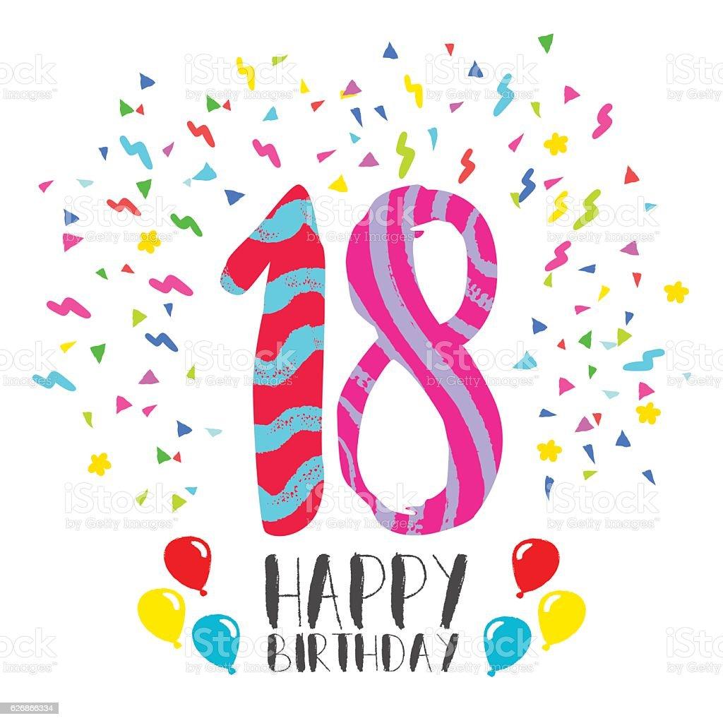 Happy Birthday for 18 year party invitation card vector art illustration