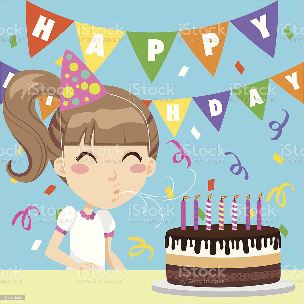 Happy Birthday Girl vector art illustration