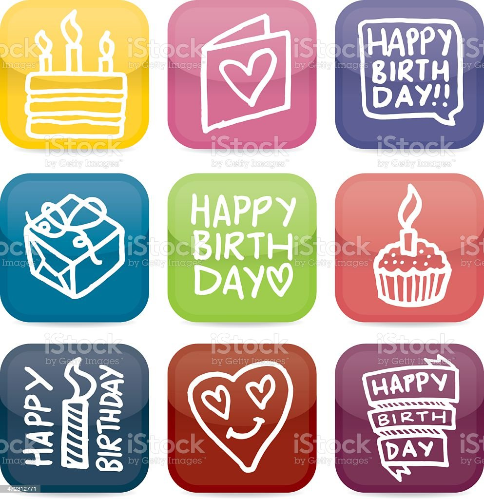 Happy birthday glossy icon set vector art illustration