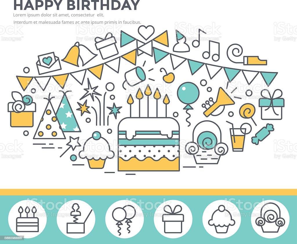 Happy birthday greeting card. vector art illustration