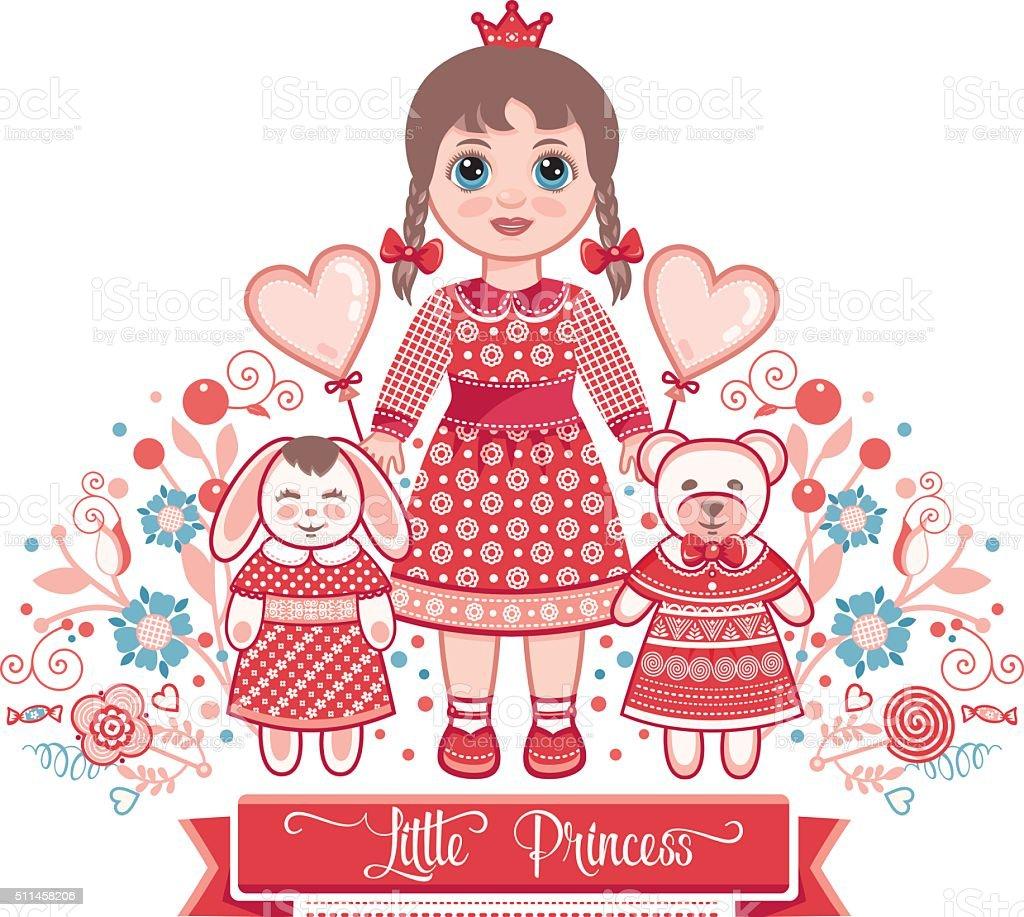 Happy birthday - greetings card for girl. vector art illustration