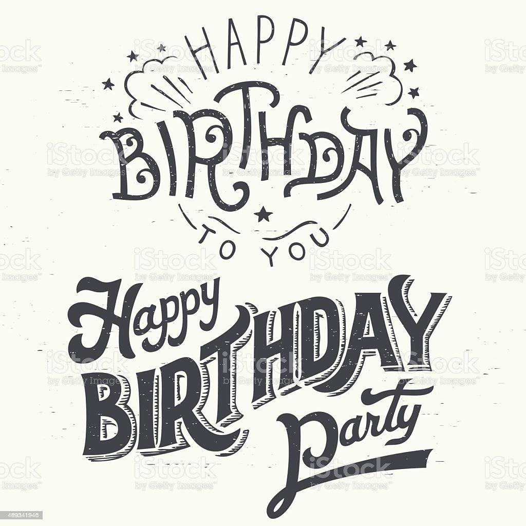Happy birthday hand drawn typographic design set vector art illustration