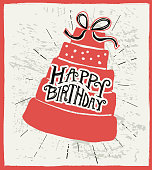 Happy Birthday hand lettered design on layer cake