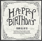 Happy Birthday hand lettered design template