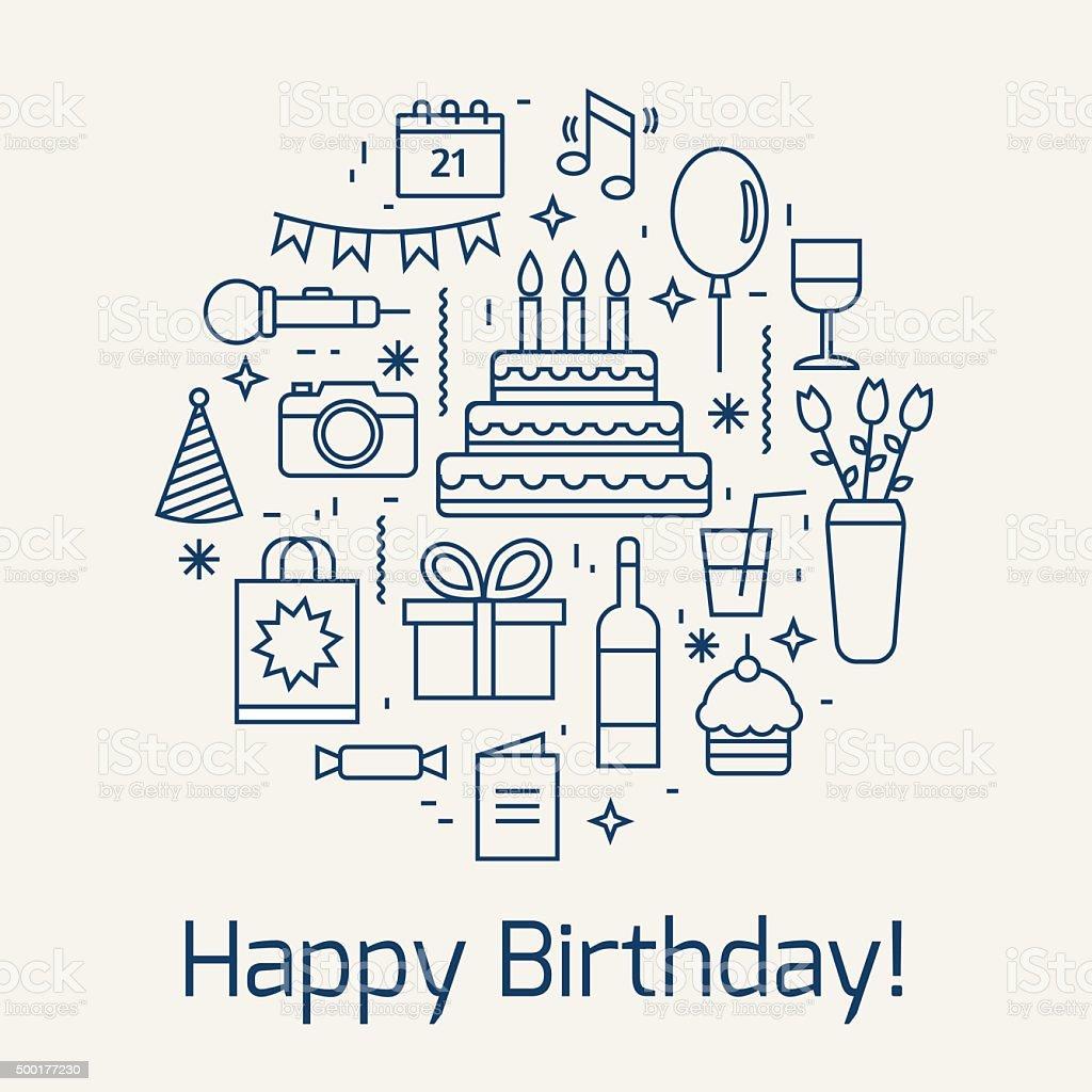 Happy Birthday icons set. vector art illustration