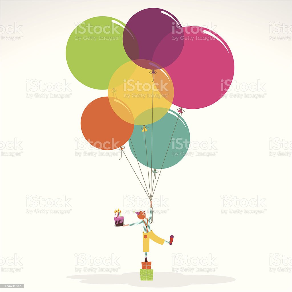 Happy birthday invitation clown with ballons cake vector art illustration