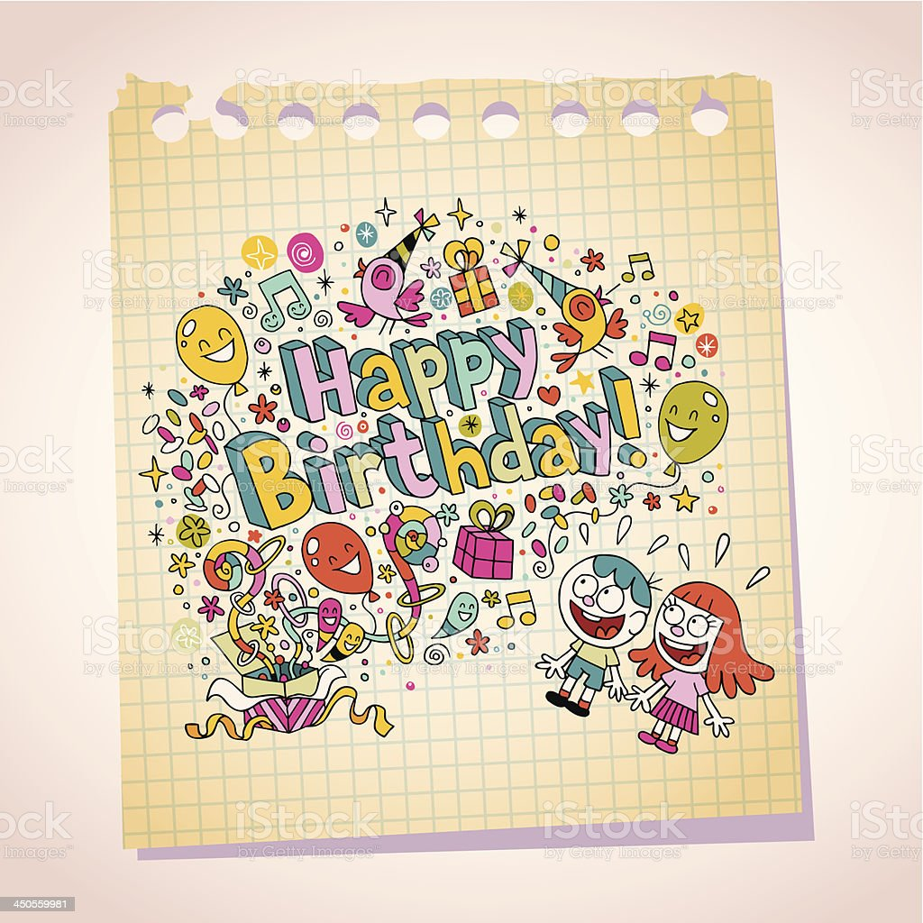 Happy Birthday kids note paper cartoon illustration royalty-free stock vector art