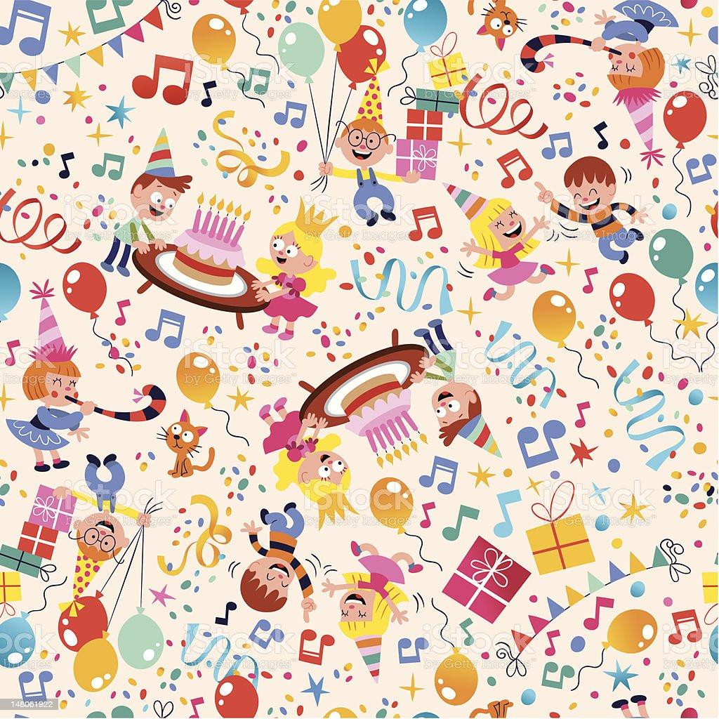 Happy Birthday kids party pattern royalty-free stock vector art