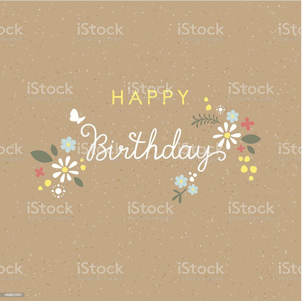 Happy Birthday lettering flower card vector art illustration
