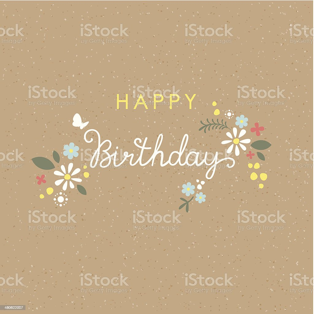 Happy Birthday lettering flower card vector art illustration