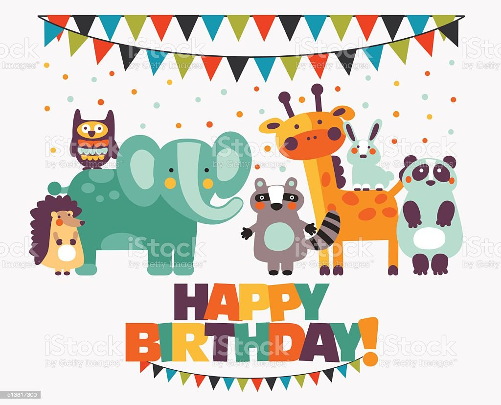 Happy birthday, lovely card with funny cute animals and garlands vector art illustration