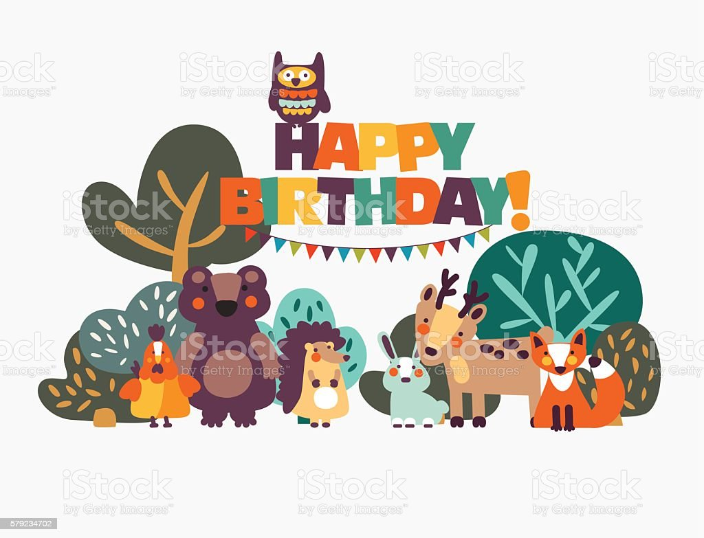 Happy birthday! Lovely card with funny cute animals and garlands vector art illustration