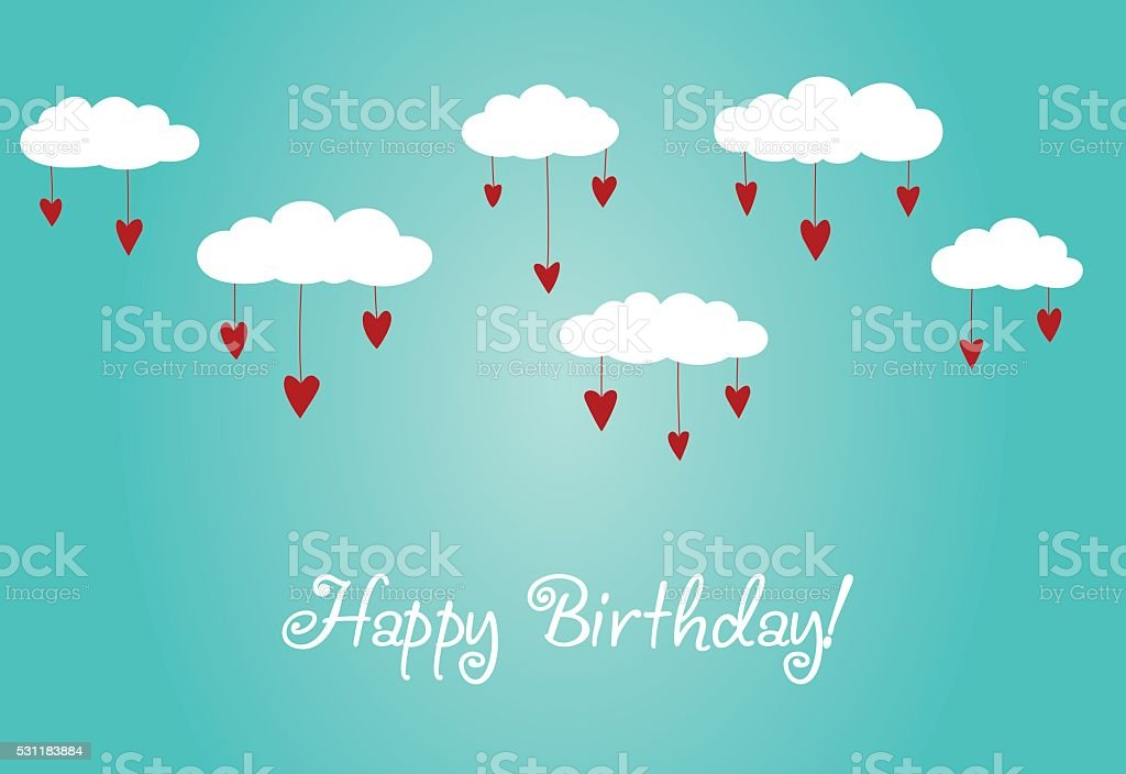 Happy birthday - lovely card with hearts and clouds vector art illustration