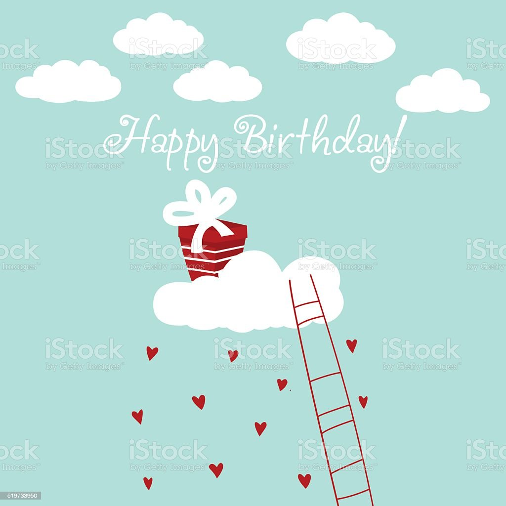 Happy birthday - lovely card with hearts, clouds and present vector art illustration