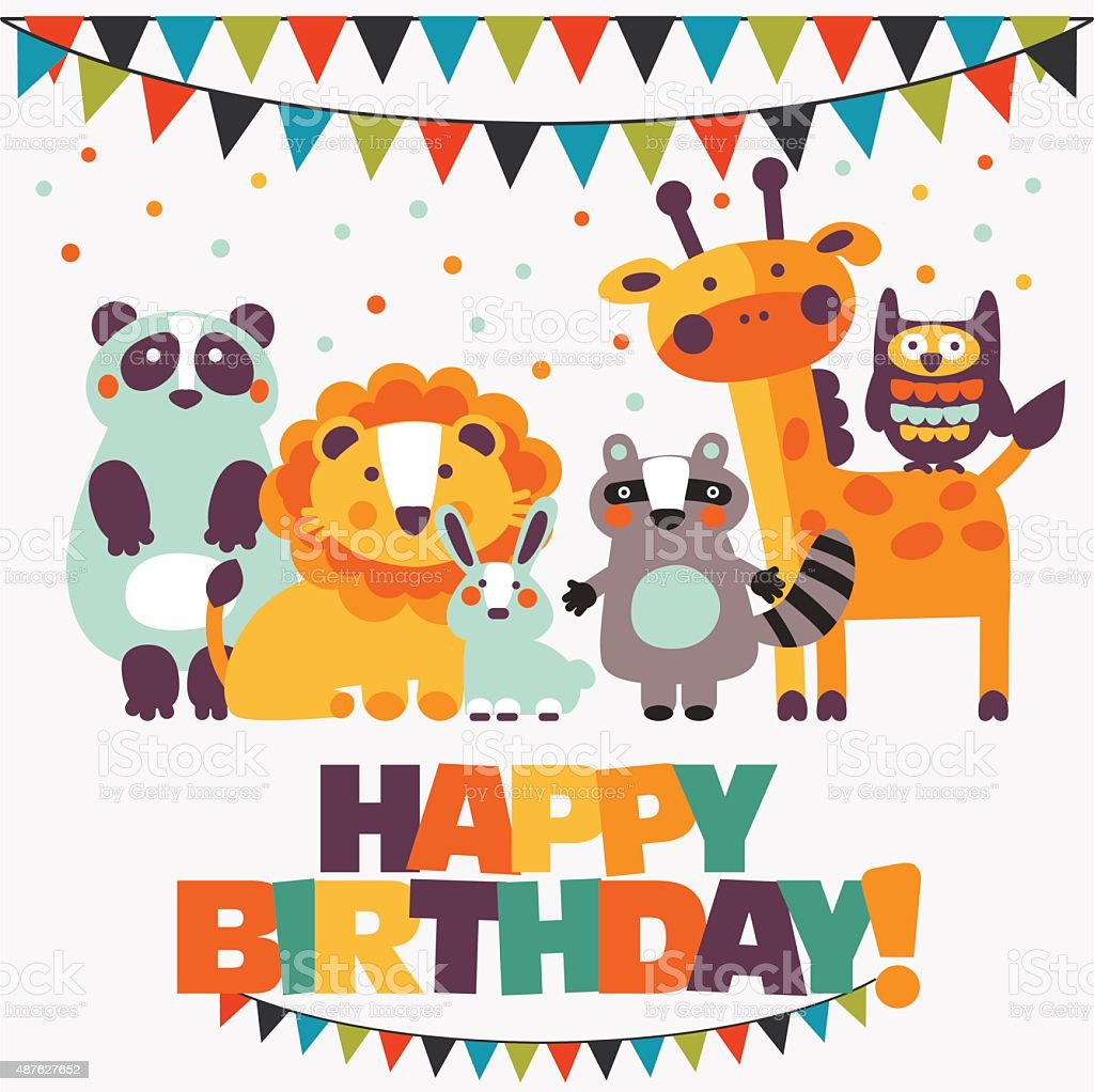 'Happy birthday ' lovely vector card with cute animals and garlands vector art illustration