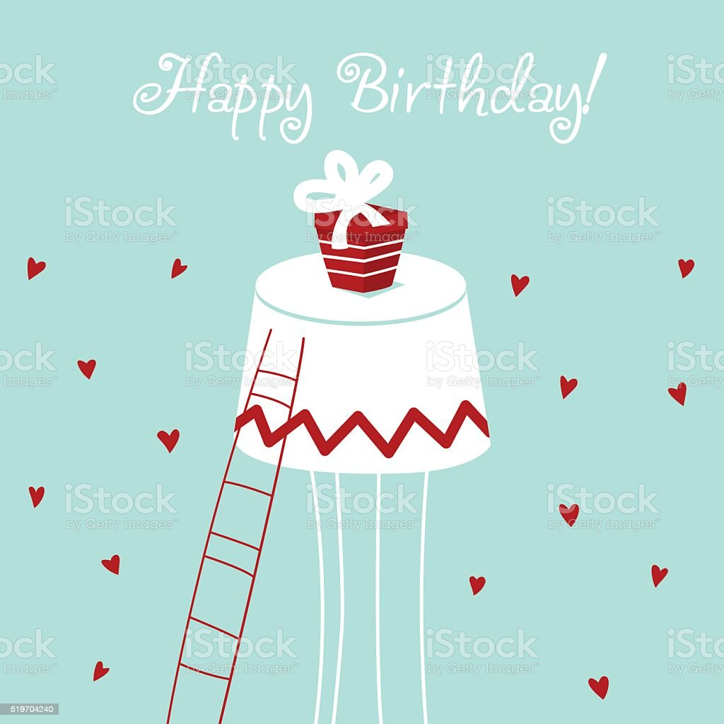 Happy birthday - lovely vector card with hearts and present vector art illustration