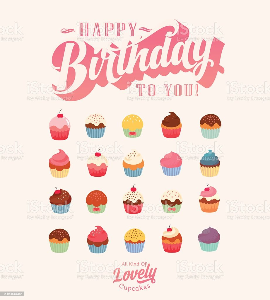Happy Birthday - Lovely Vintage Cupcake Collection vector art illustration