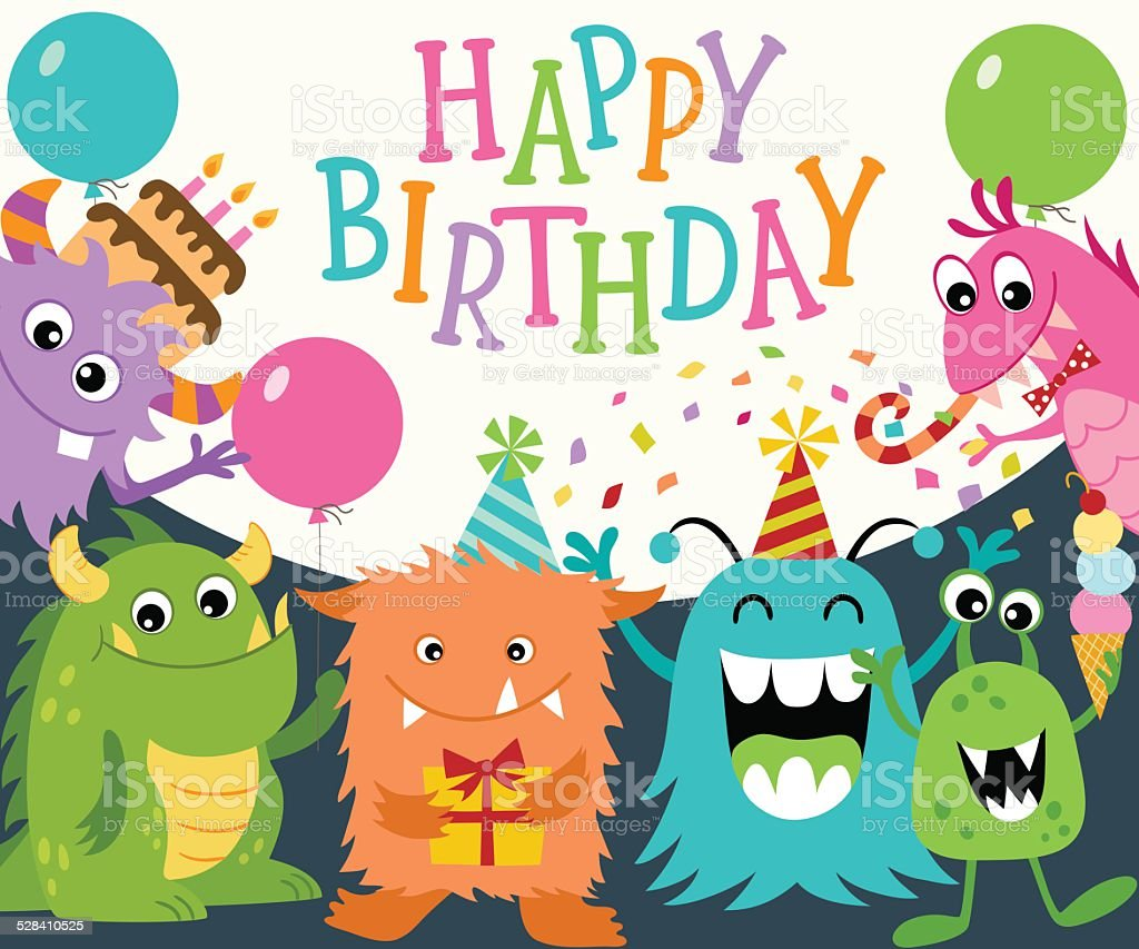 Happy Birthday Monsters vector art illustration