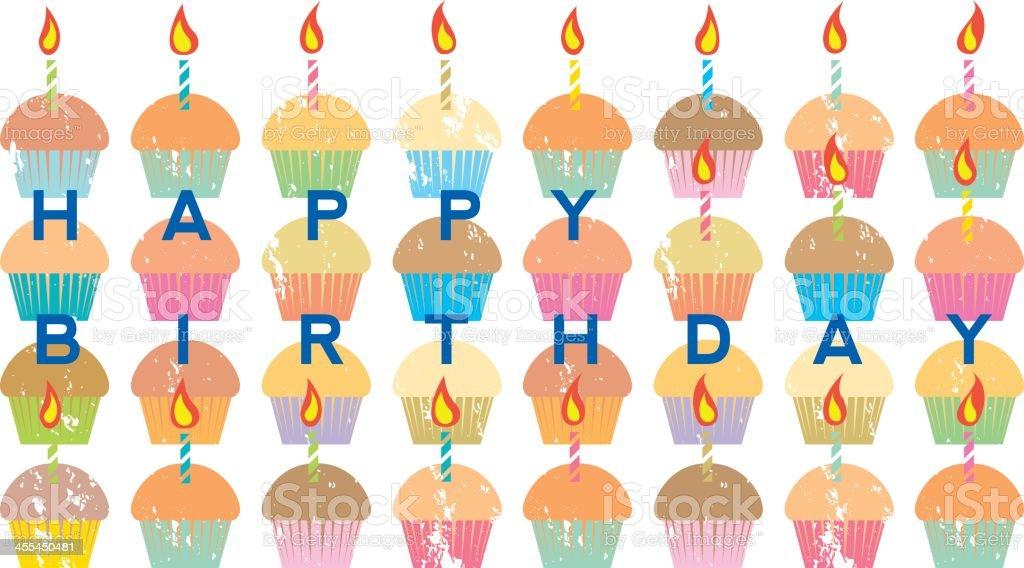 Happy Birthday Muffins vector art illustration