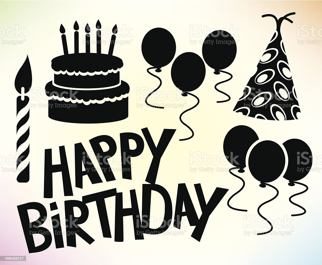 Happy Birthday Party - Cake, Hat, Balloons, Candle Cartoons vector art illustration