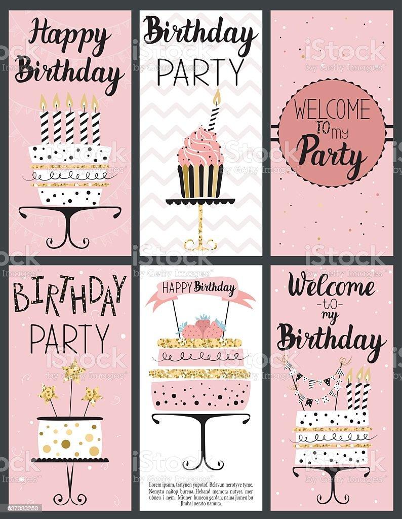 Happy Birthday Party cards set vector art illustration