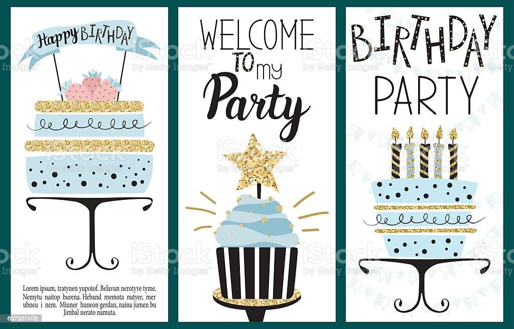 Happy Birthday Party cards vector art illustration
