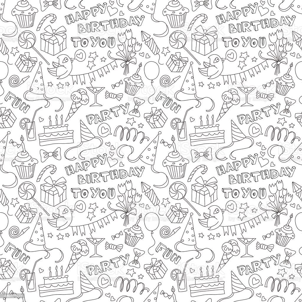 Happy birthday party doodle black and white seamless pattern vector art illustration