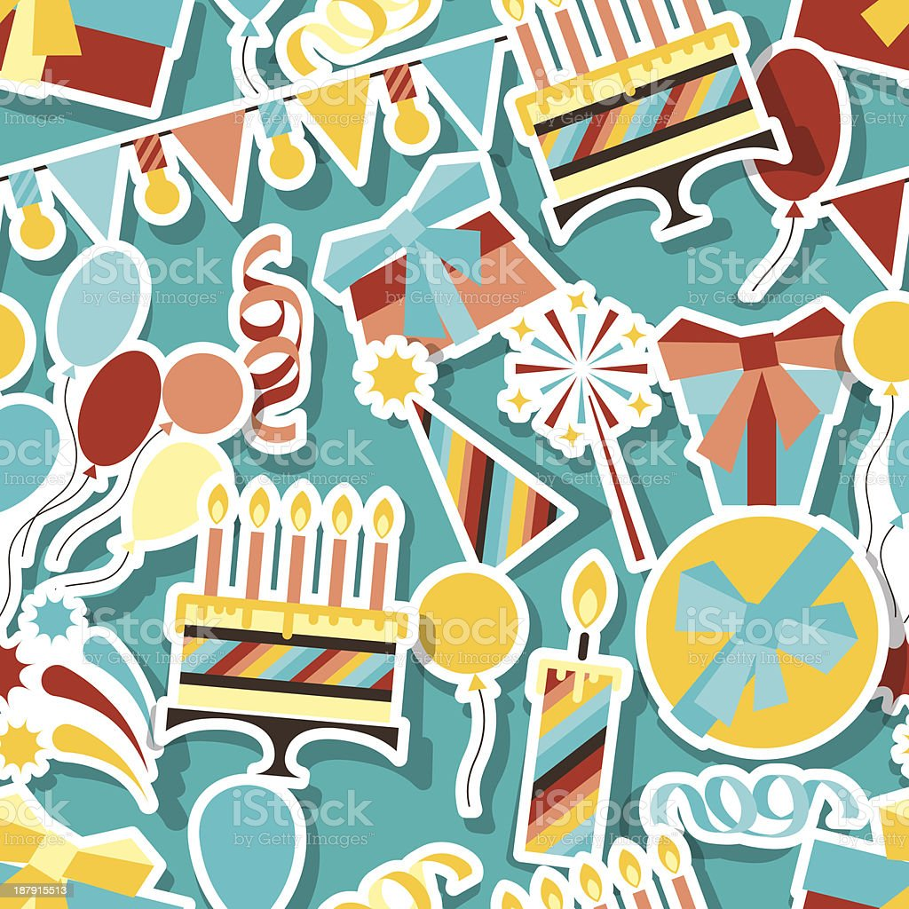 Happy Birthday party seamless pattern. royalty-free stock vector art