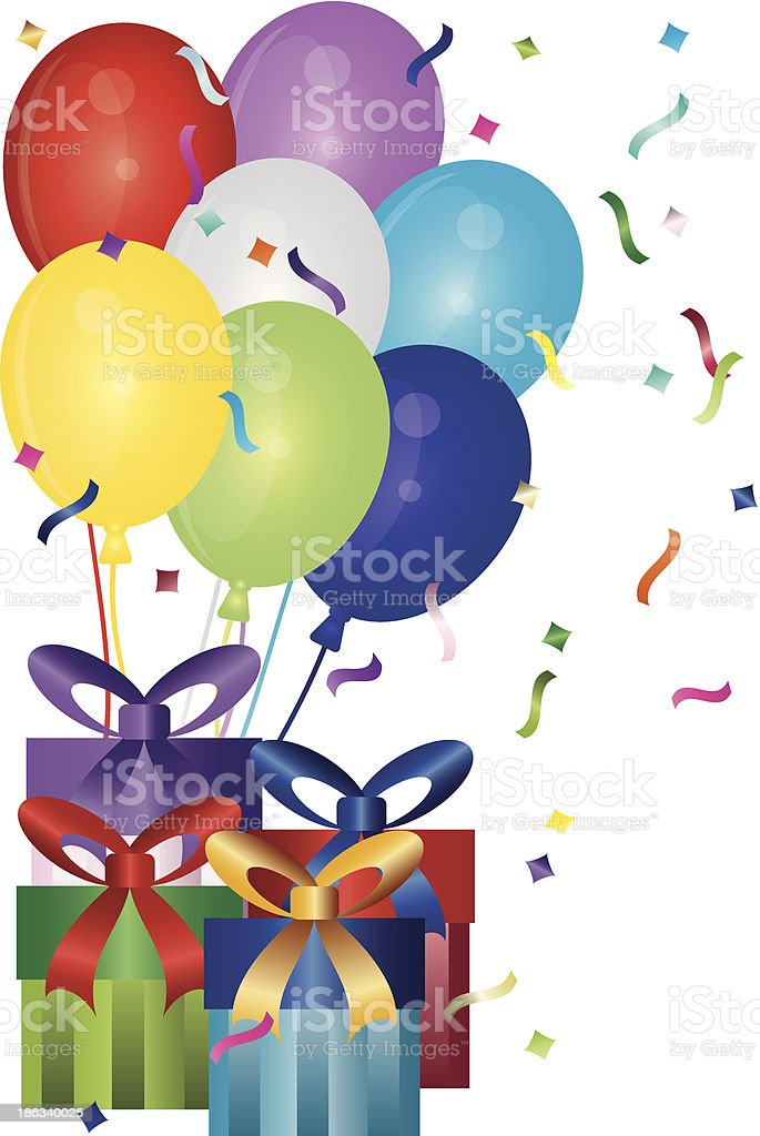 Happy Birthday Presents and Balloons Vector Illustration vector art illustration