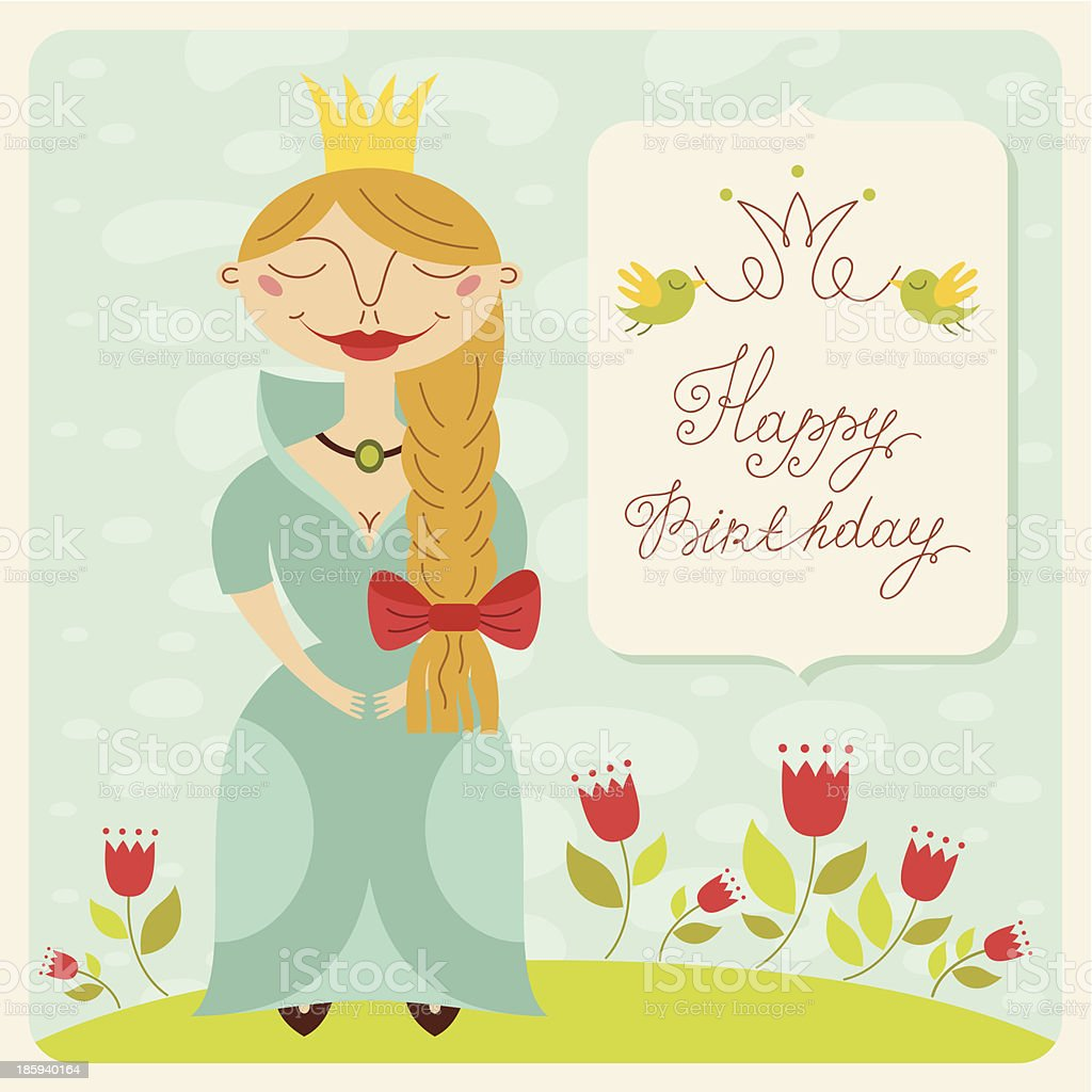 Happy birthday princess card royalty-free stock vector art