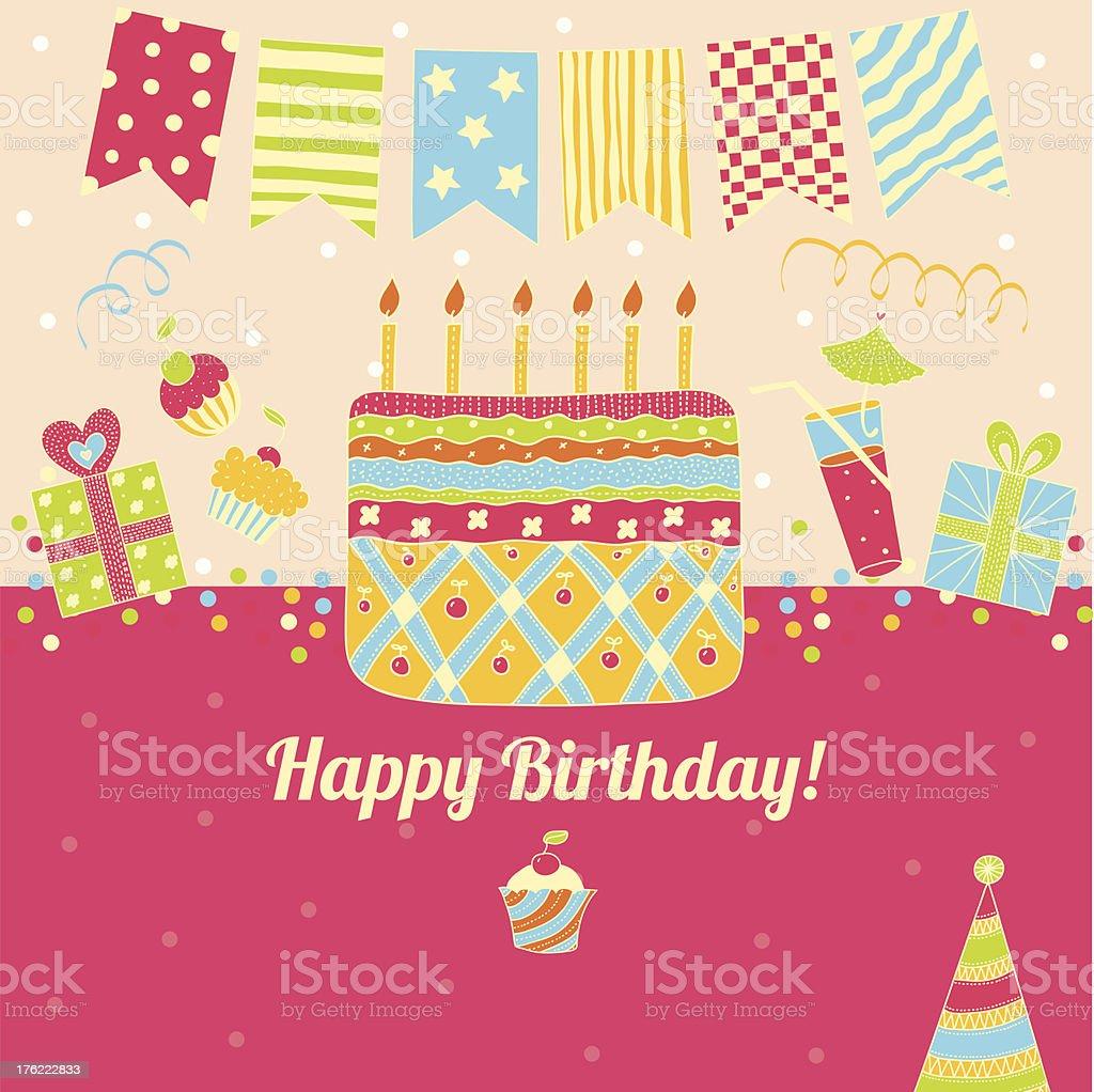 Happy Birthday! Retro postcard. royalty-free stock vector art