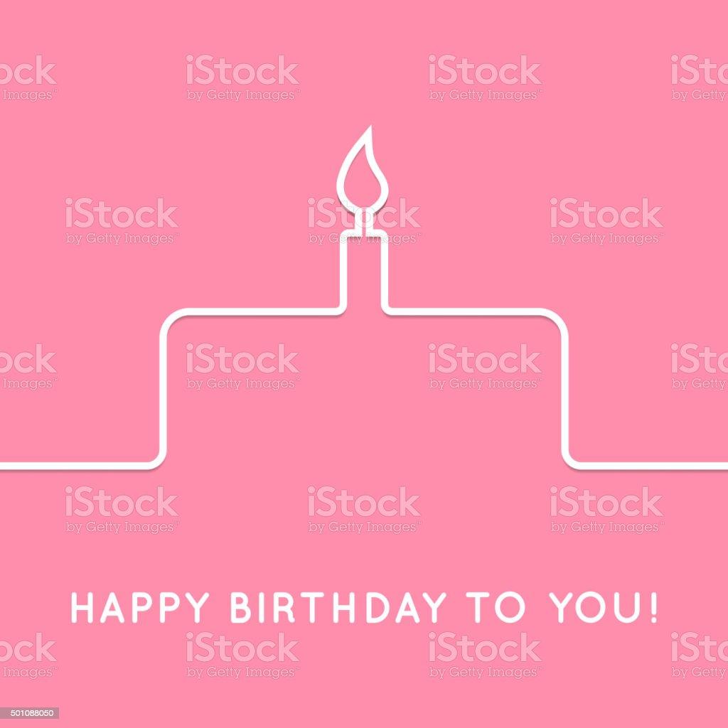 Happy birthday retro postcard with cake icon. Vector illustration vector art illustration