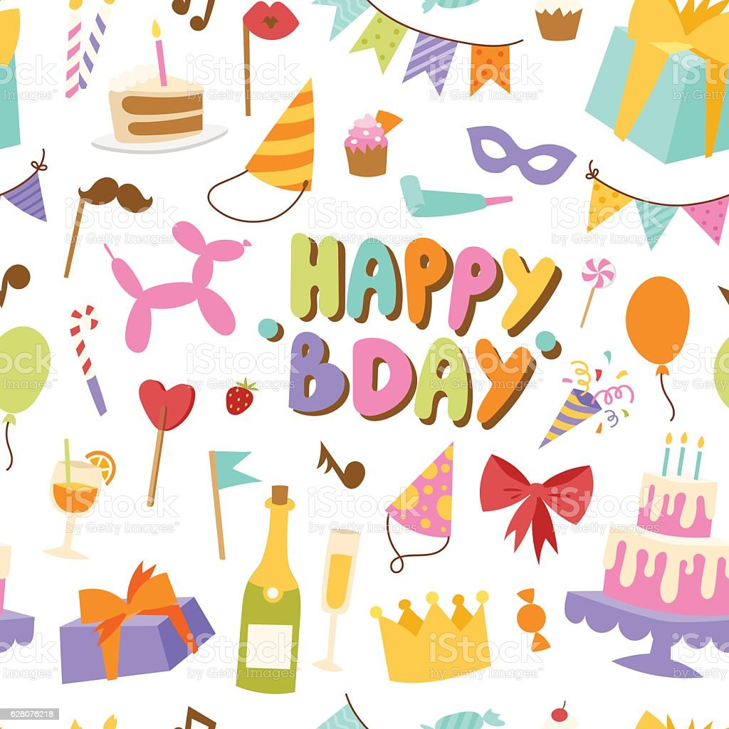Happy birthday seamless pattern vector. vector art illustration
