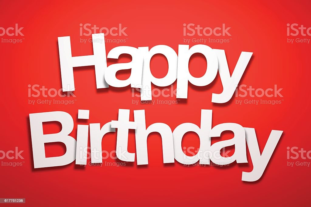 Happy Birthday Sign with Red Background - Paper Font vector art illustration