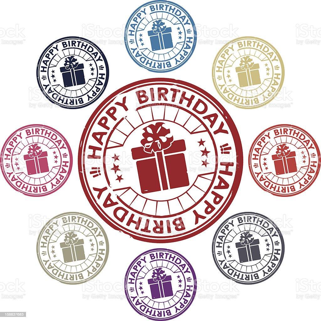 happy birthday stamp royalty-free stock vector art