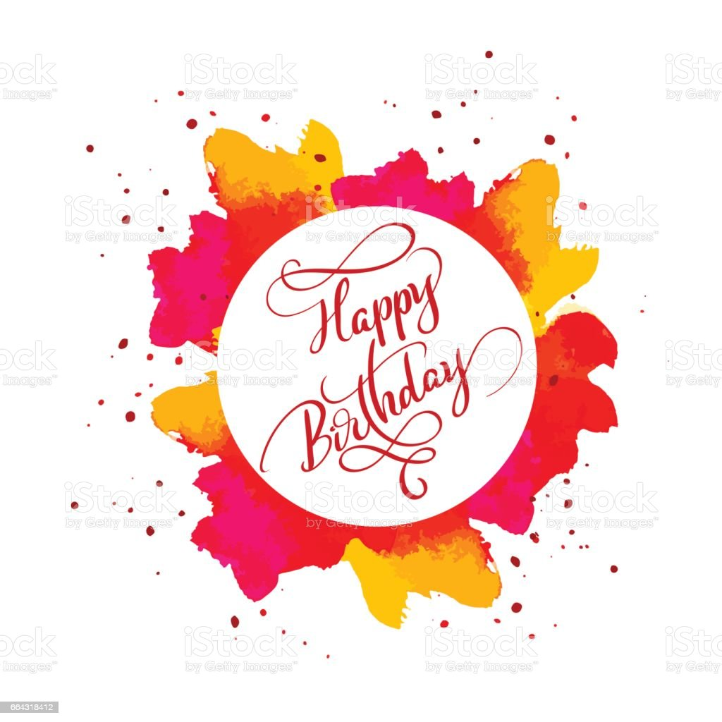 Happy Birthday text on watercolor red blot. Hand drawn Calligraphy lettering Vector illustration EPS10 vector art illustration