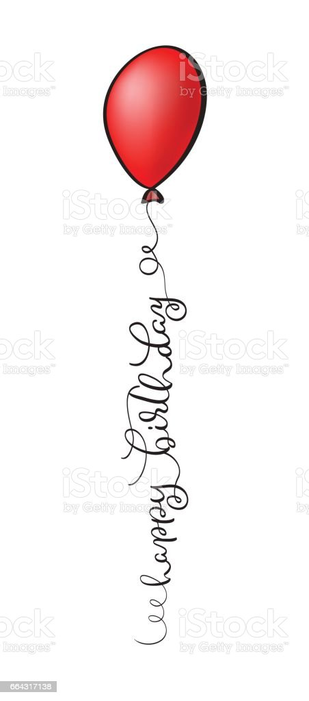 Happy Birthday Text with red balloon on white background. Calligraphy lettering Vector illustration EPS10 vector art illustration