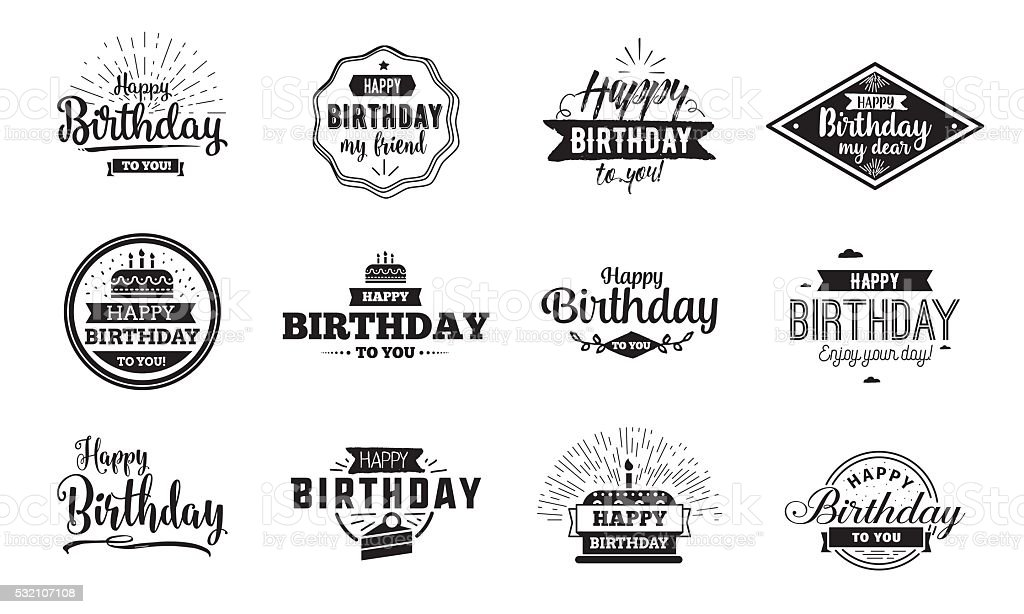 Happy Birthday typographic set. Vector design vector art illustration