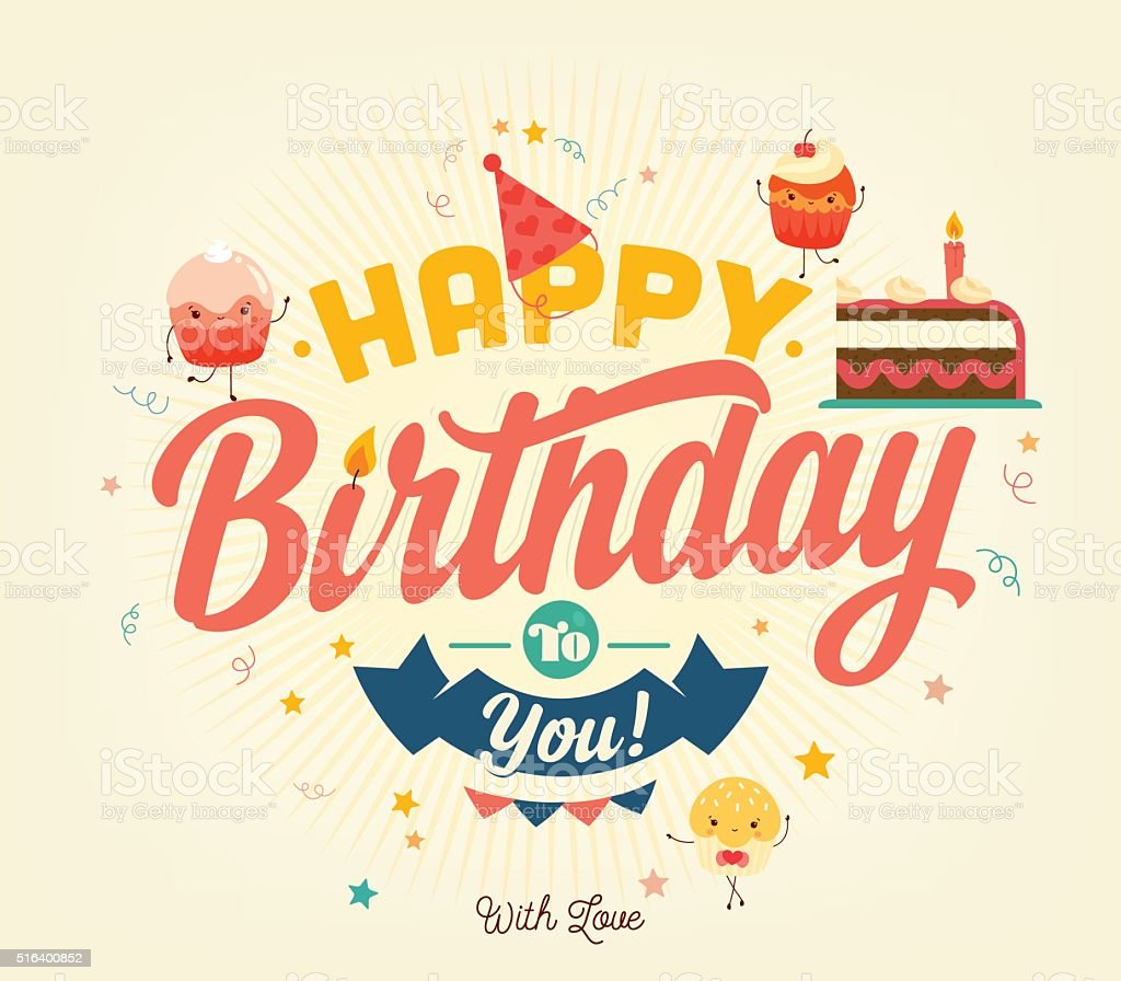Happy Birthday Typographical Background vector art illustration