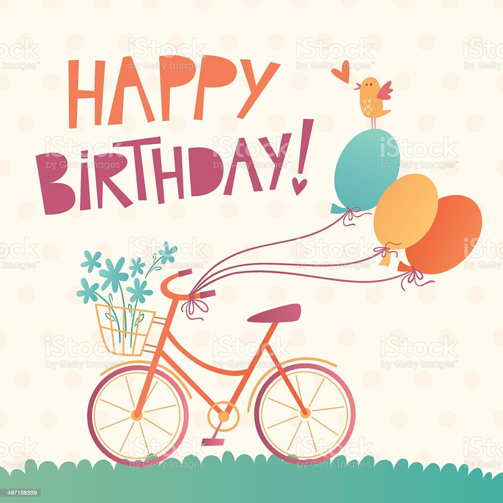 Happy Birthday vector card with a bicycle vector art illustration