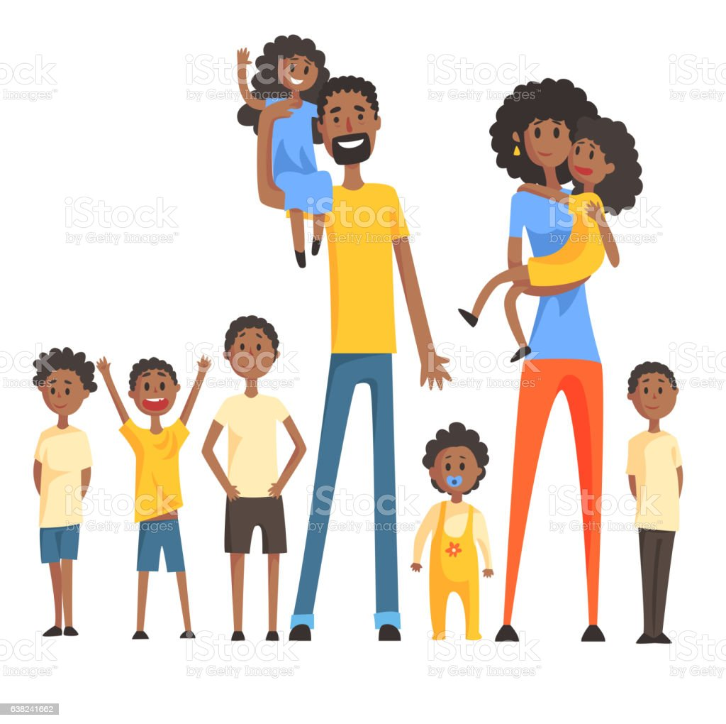 Happy Black Family With Many Children Portrait  All vector art illustration