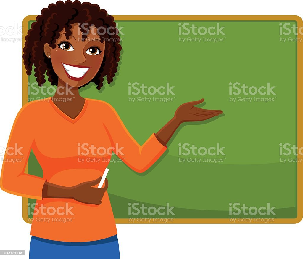 happy black teacher vector art illustration