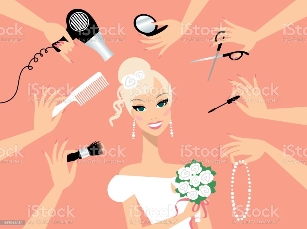 Happy blond hair bride in a beauty salon vector art illustration