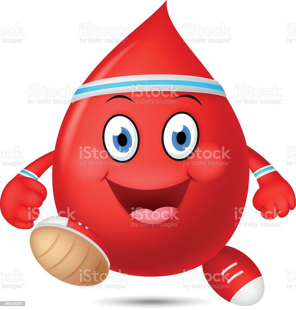 Happy blood cartoon running vector art illustration