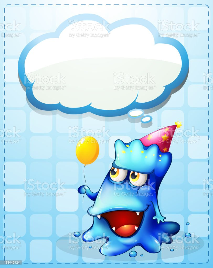 happy blue monster with an empty cloud callout royalty-free stock vector art