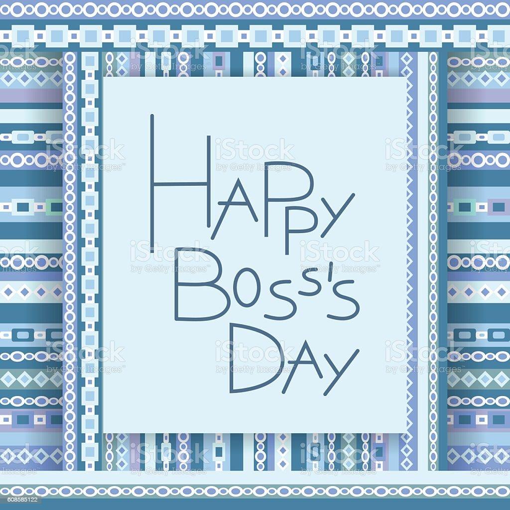 Happy boss day invitation card. vector art illustration