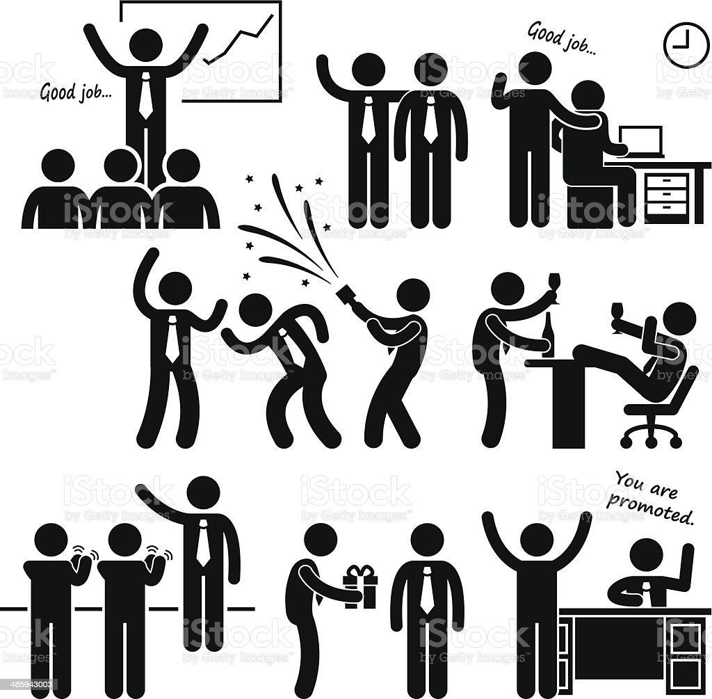Happy Boss Rewarding Employee vector art illustration